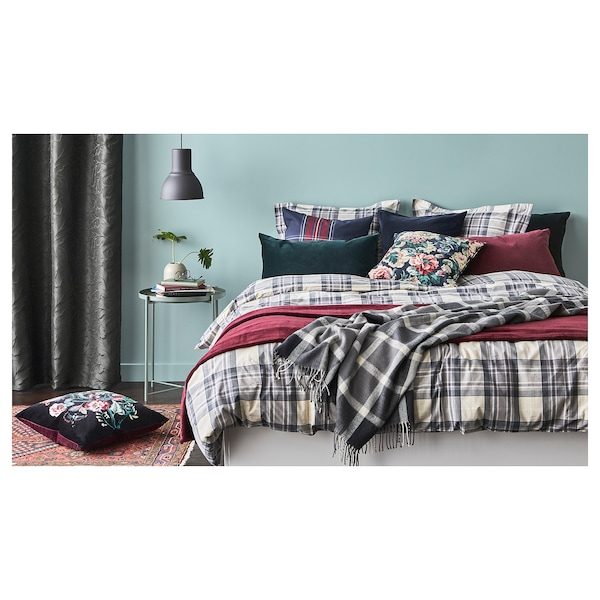 SMALRUTA quilt cover and pillowcase grey/check 152 /inch² 1 pack 200 cm 150 cm 50 cm 60 cm