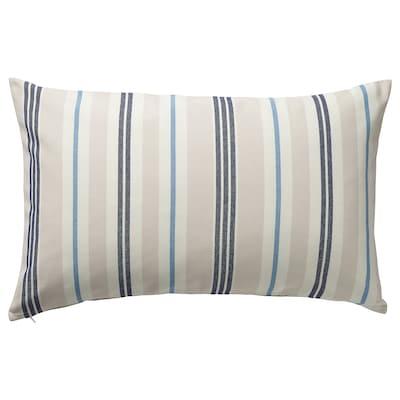 SMALSTÄKRA Cushion cover, beige/blue/striped, 40x65 cm