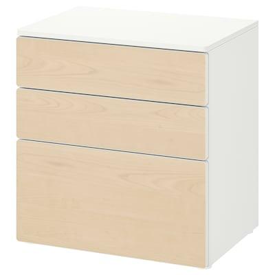 SMÅSTAD / PLATSA Chest of 3 drawers, white/birch, 60x42x63 cm