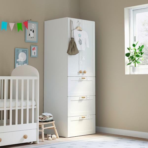 SMÅSTAD / PLATSA Wardrobe, white with frame/with 3 drawers, 60x55x180 cm