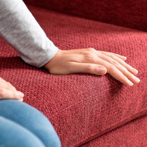 SMEDSTORP 2-seat sofa, Lejde/red/brown oak