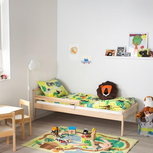 SNIGLAR Bed frame and guard rail, beech, 70x160 cm