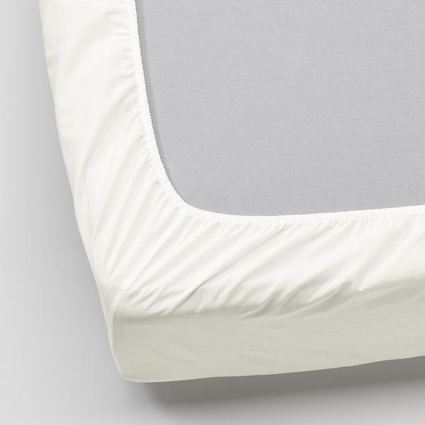 SÖMNTUTA fitted sheet white 400 /inch² 200 cm 90 cm