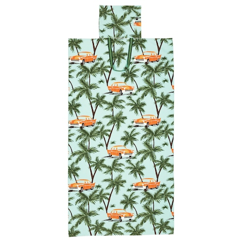 SOLBLEKT beach towel with bag palm/car pattern blue 180 cm 100 cm