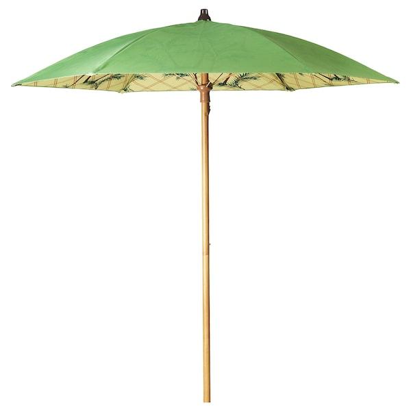 SOLBLEKT parasol palm pattern green 215 cm 185 cm 34 mm