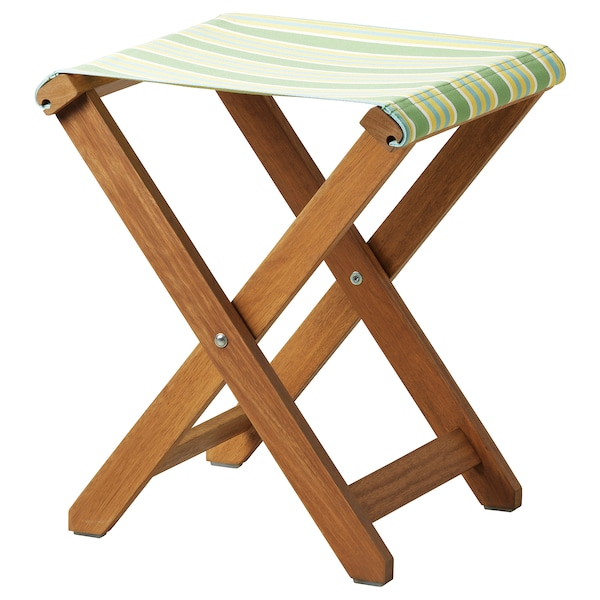 SOLBLEKT stool foldable eucalyptus/striped green 100 kg 35 cm 37 cm 46 cm 35 cm 37 cm 46 cm