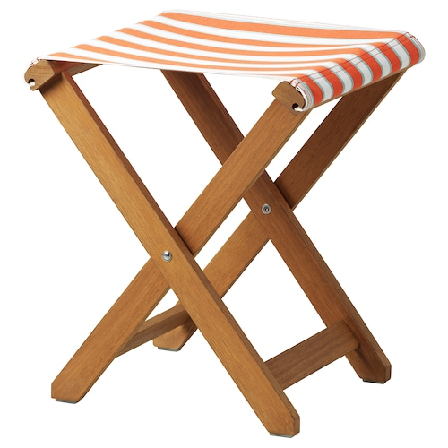 SOLBLEKT stool foldable eucalyptus/striped orange 100 kg 35 cm 37 cm 46 cm 35 cm 37 cm 46 cm
