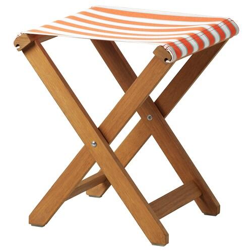 SOLBLEKT stool foldable eucalyptus/striped orange 100 kg 35 cm 37 cm 46 cm 35 cm 37 cm 46 cm