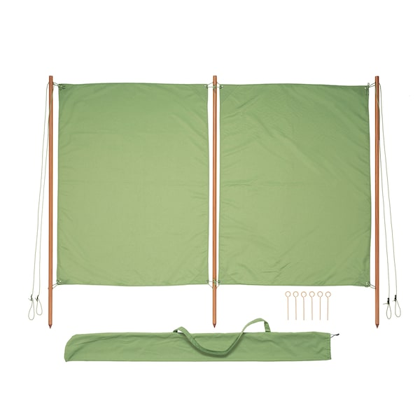 SOLBLEKT wind-/sunshield green 194 cm 160 cm 25 mm