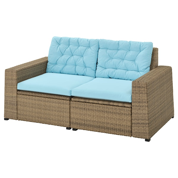 SOLLERÖN 2-seat modular sofa, outdoor brown/Kuddarna light blue 161 cm 82 cm 84 cm 125 cm 56 cm 40 cm