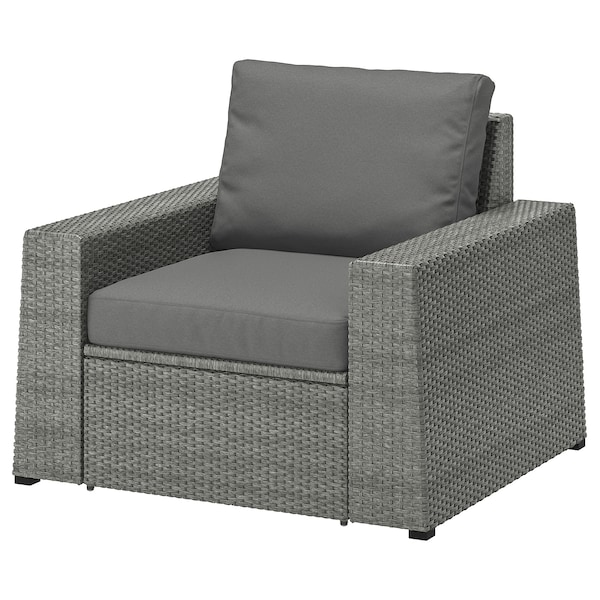 Set Giardino Rattan Ikea.Solleron Armchair Outdoor Dark Grey Froson Duvholmen Dark Grey