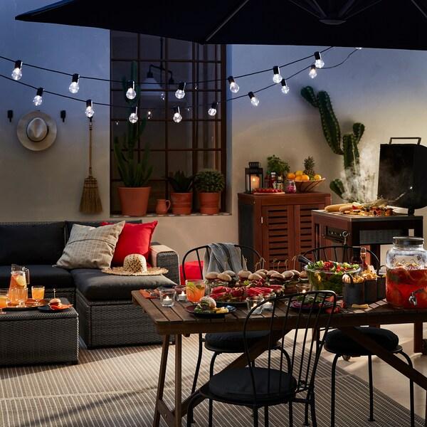SOLLERÖN modular corner sofa 4-seat, outdoor with footstool dark grey/Hållö black 82 cm 82 cm 287 cm 162 cm 2 cm 54 cm 40 cm 62 cm 62 cm