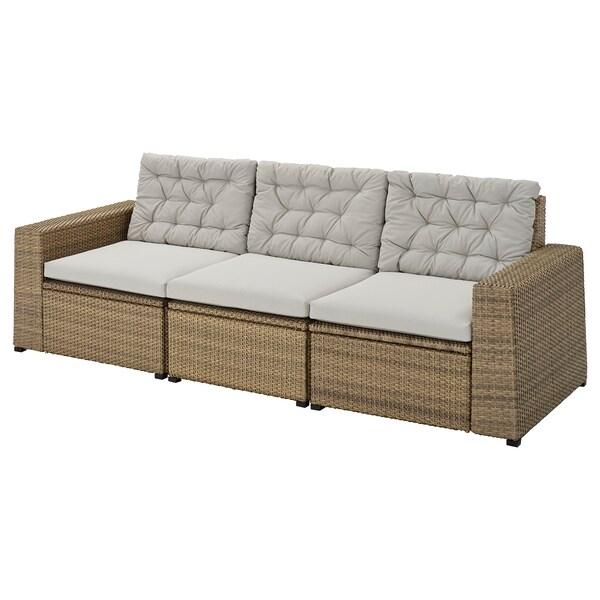 SOLLERÖN 3-seat modular sofa, outdoor, brown/Kuddarna grey, 223x82x84 cm