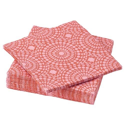 SOMMARLIV paper napkin patterned/orange/pink 24 cm 24 cm 30 pack