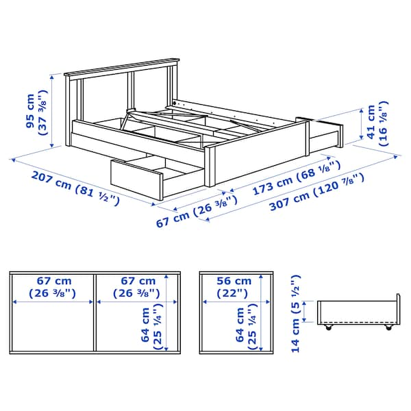 SONGESAND Bed frame with 4 storage boxes, white/Lönset, 160x200 cm