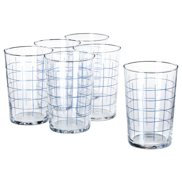SPORADISK glass clear glass/check pattern 46 cl 6 pack