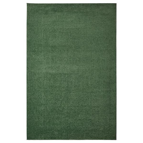 SPORUP Rug, low pile, dark green, 200x300 cm