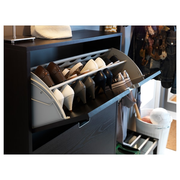 STÄLL Shoe cabinet with 3 compartments, black-brown, 79x29x148 cm