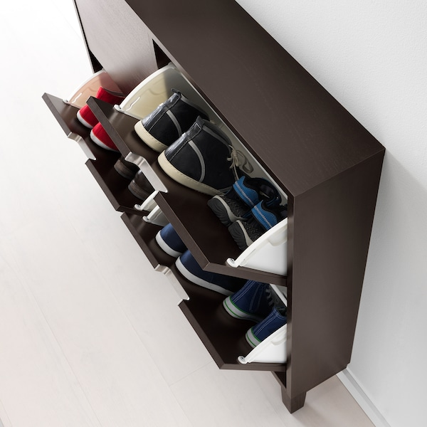 STÄLL Shoe cabinet with 4 compartments, black-brown, 96x17x90 cm