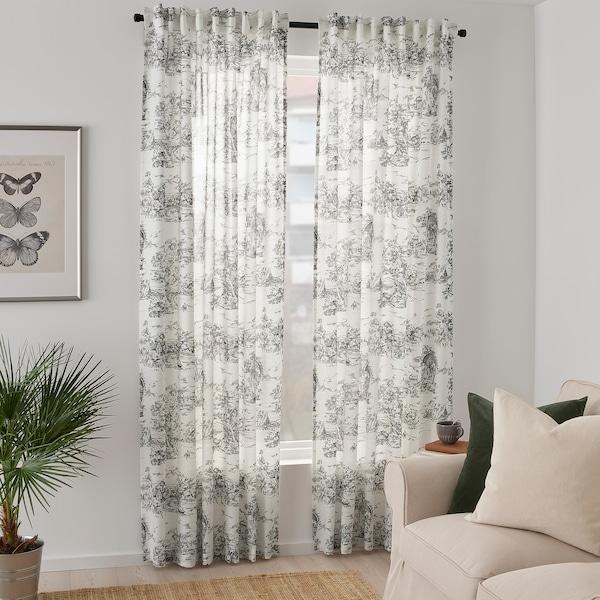 STJÄRNRAMS Curtains, 1 pair, white/grey, 145x300 cm