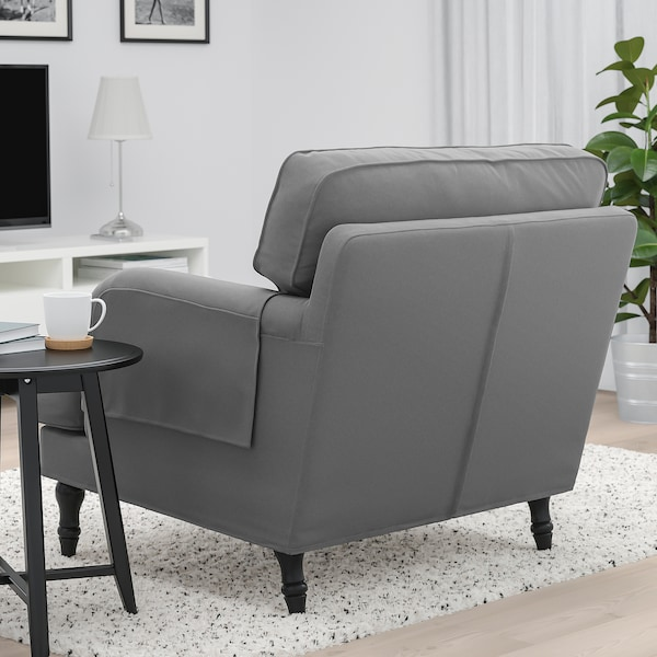 STOCKSUND armchair Ljungen medium grey/black/wood 84 cm 73 cm 92 cm 97 cm 58 cm 46 cm