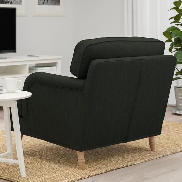 STOCKSUND armchair Nolhaga dark green/light brown/wood 84 cm 73 cm 92 cm 97 cm 58 cm 46 cm