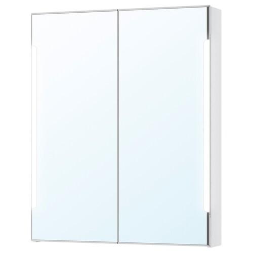 STORJORM mirror cab 2 door/built-in lighting white 80 cm 14 cm 96 cm