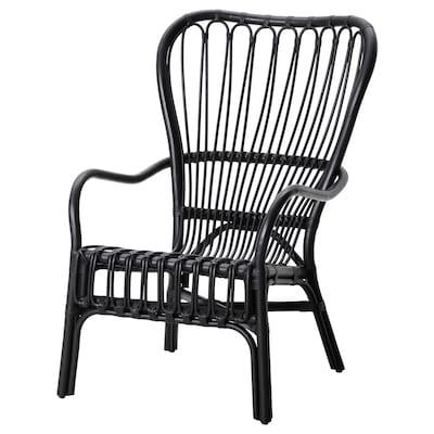 STORSELE High-back armchair, black/rattan