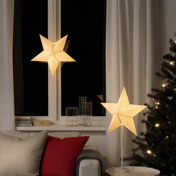 STRÅLA Lamp shade, dotted/white, 48 cm
