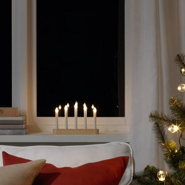 STRÅLA LED 5-armed candelabra, battery-operated/pine, 15 cm