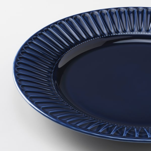 STRIMMIG plate earthenware blue 27 cm