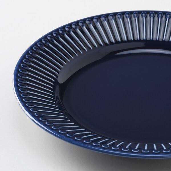 STRIMMIG Side plate, earthenware blue, 21 cm