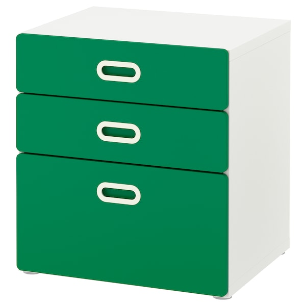 STUVA / FRITIDS chest of 3 drawers white/green 60 cm 50 cm 64 cm