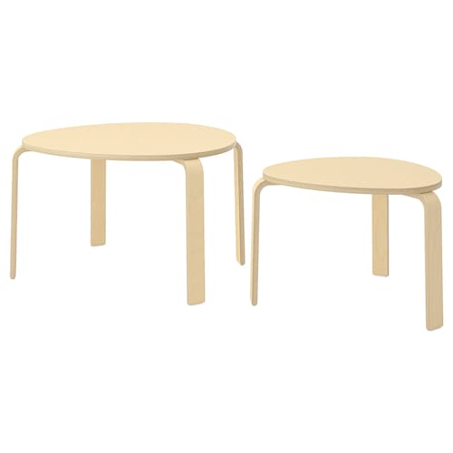 SVALSTA nest of tables, set of 2 birch veneer
