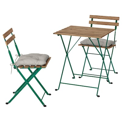 TÄRNÖ Table+2 chairs, outdoor, dark green/light brown stained/Kuddarna grey