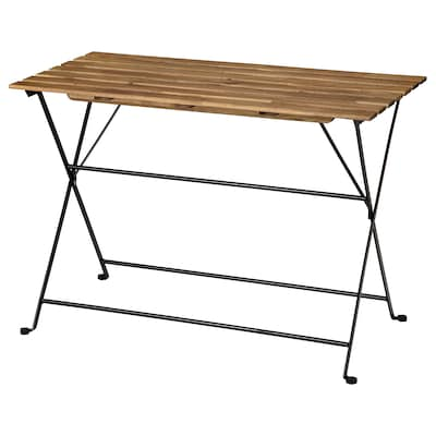 TÄRNÖ Table, outdoor, black/light brown stained, 100x54 cm