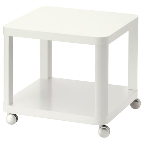 TINGBY side table on castors white 50 cm 50 cm 45 cm