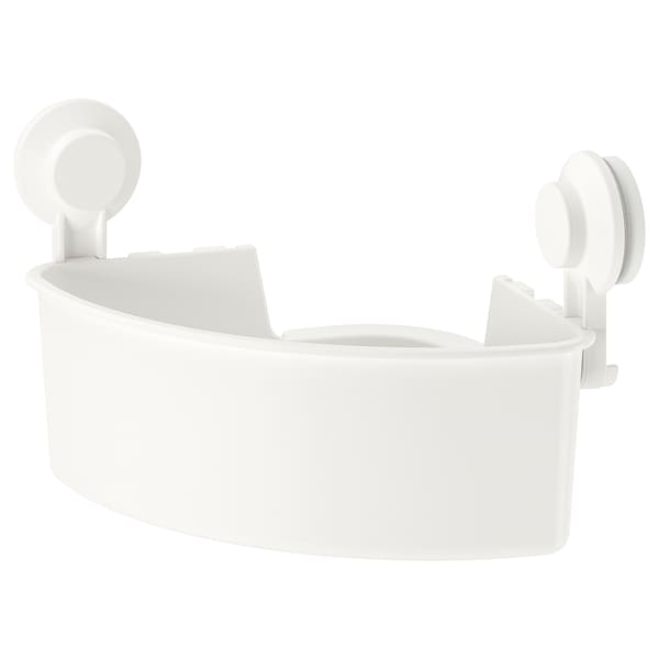 TISKEN Corner shelf unit with suction cup, white