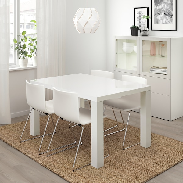 TORESUND Table, white high-gloss, 135x90 cm