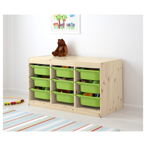 TROFAST storage combination with boxes light white stained pine/green 94 cm 44 cm 52 cm