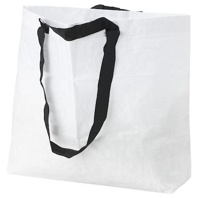 VÄCKA Carrier bag, medium, white, 36 l
