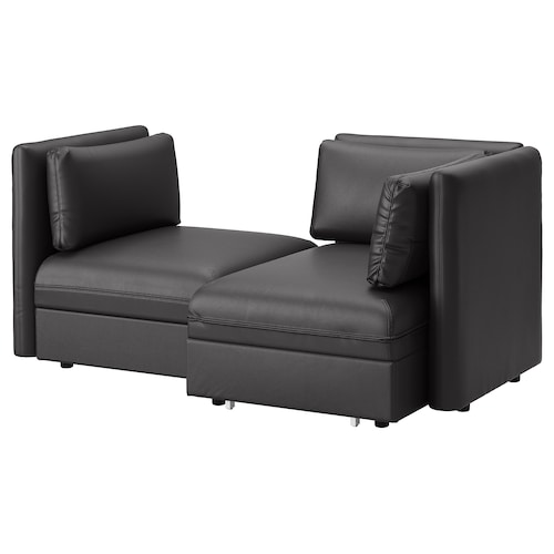 VALLENTUNA 2-seat modular sofa with sofa-bed and storage/Murum black 186 cm 113 cm 84 cm 100 cm 45 cm 80 cm 100 cm