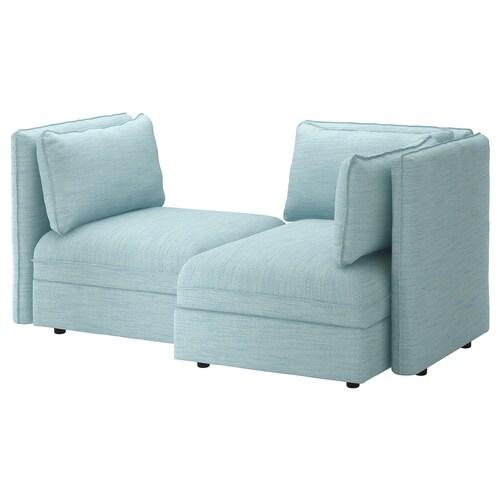 VALLENTUNA 2-seat modular sofa with storage/Hillared light blue 186 cm 113 cm 84 cm 100 cm 160 cm 45 cm