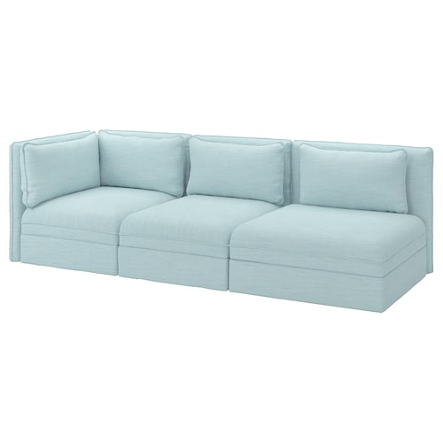VALLENTUNA 3-seat modular sofa with open end and storage/Hillared light blue 273 cm 93 cm 84 cm 45 cm