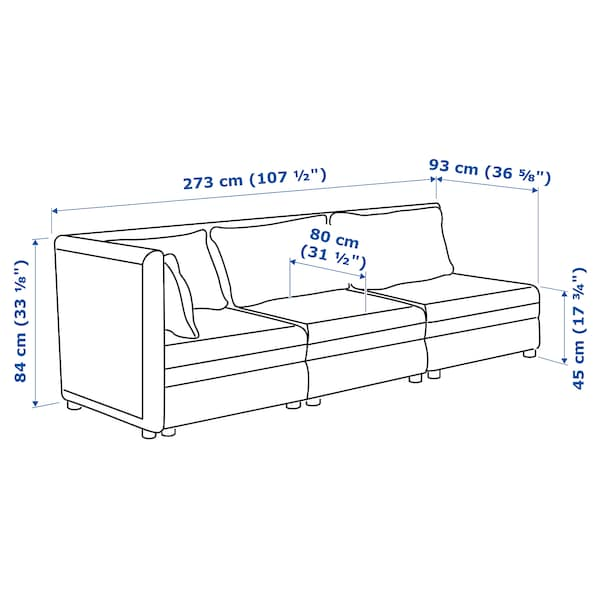 VALLENTUNA 3-seat modular sofa with open end and storage/Orrsta olive-green 273 cm 93 cm 84 cm 45 cm