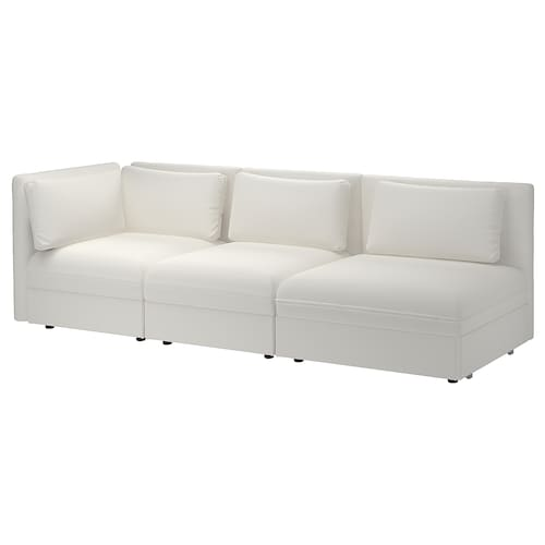 VALLENTUNA 3-seat modular sofa with sofa-bed with open end/Murum white 273 cm 84 cm 93 cm 80 cm 45 cm 80 cm 200 cm