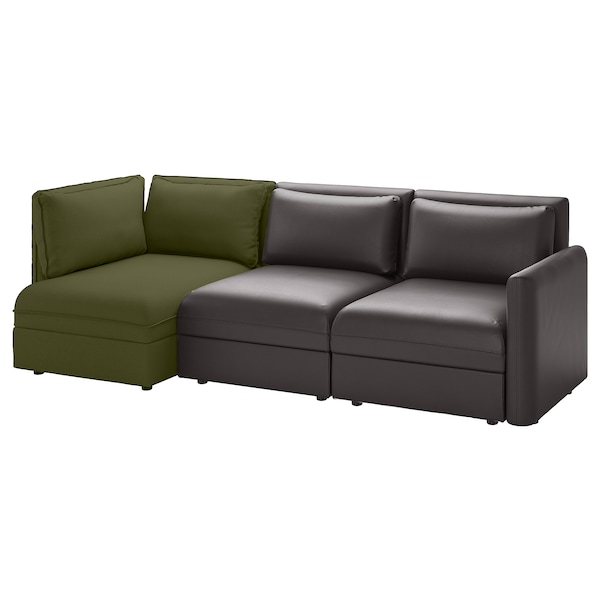 VALLENTUNA 3-seat modular sofa with storage/Murum/Orrsta black/olive-green 266 cm 84 cm 93 cm 113 cm 80 cm 100 cm 45 cm