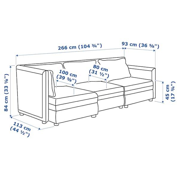 VALLENTUNA 3-seat modular sofa with storage/Orrsta/Murum light grey/white 266 cm 84 cm 93 cm 113 cm 80 cm 100 cm 45 cm