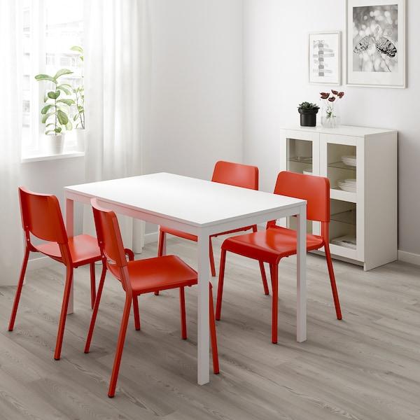 VANGSTA / TEODORES table and 4 chairs white/bright orange 120 cm 180 cm