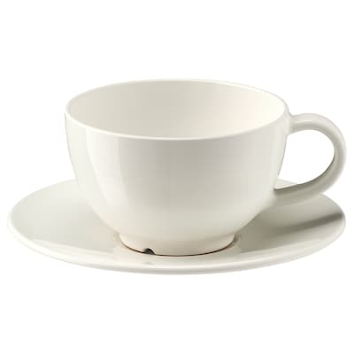 VARDAGEN Teacup with saucer, off-white, 26 cl